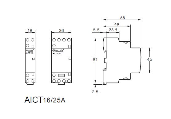 Aict 1p 25a modular contactors shanghai anson electric technology connection diagrams dimensions aict 25a modular contactors asfbconference2016 Choice Image