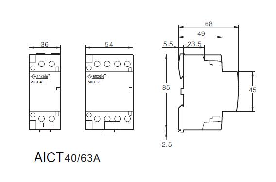 AICT-2P-63A Modular Contactors