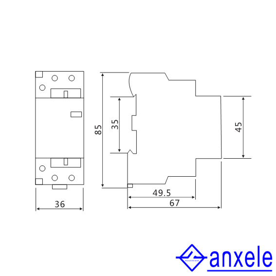 ASC1 1P/2P 63A Modular Contactors